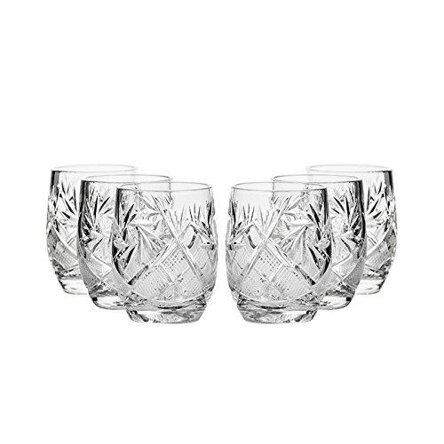 Set of 6 Neman Glassworks 15-Oz Hand Made Vintage Russian Crystal Shot Glasses Vodka Liquor Old-fashioned Glassware