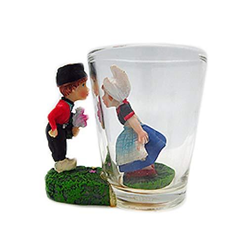 Souvenir Shot Glass 3-D Dutch Boy Girl