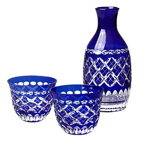 Edo Kiriko Japanese Blue Glass Sake Set Cut Glass Drinking Set Of Sake Decanter 2 Guinomi Cups Japanese Crafts Sakura