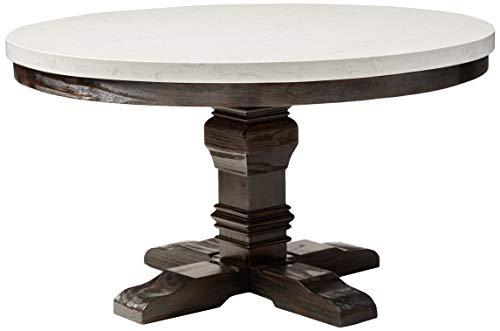 ACME Nolan Dining Table wPedestal - 72845 - White Marble Salvage Dark Oak
