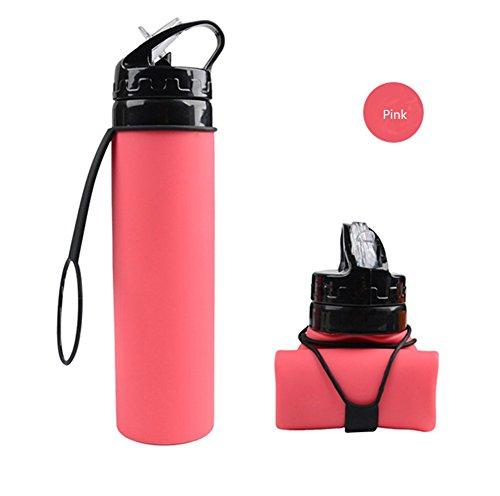 Girls Drinking Water Bottle Couples Travel mugs - Collapsible Water Bottle - 19 oz Silica GelFood Grade BPA Free Pink