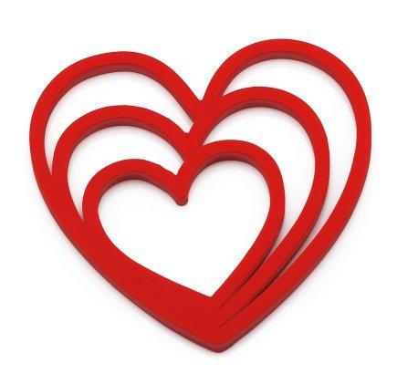 Heart-shaped Silica gel Heat insulation mat Bowl pad Plate mat Table Mats Coasters Waterproof Potholder red