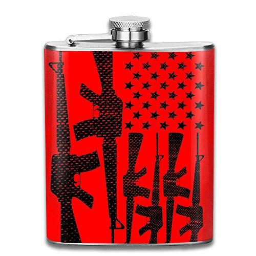 DeckerMO Novelty Usa Flag Gun Pocket Hip-flask Portable Flagon Drinking Whiskey Liquor Gift 304 Stainless Steel 70Z