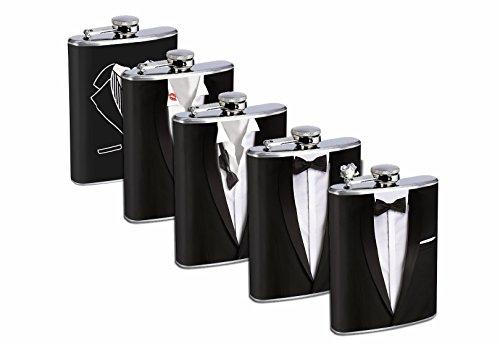 Groomsmen Gift Set 5 - 8oz Stainless Steel Flasks Drinking Whiskey Wedding