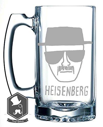 Breaking Bad Heisenberg Police Sketch Inspired 25 OZ Hand-made Etched Beer Mug Glass Stein