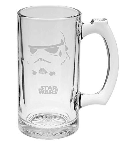 Stormtrooper Helm Star Wars Inspired 16 oz Hand-made Etched Beer Mug Glass Stein