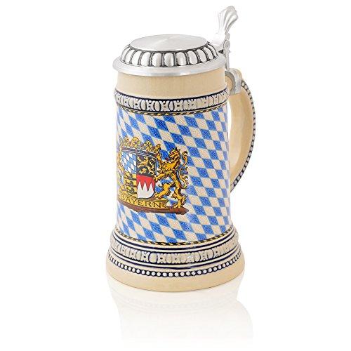 German Beer SteinFlag Bayern  Traditional Bavarian Beer Mug with Metal Lid  05 liter 1 pt  beige - blue  Made in Germany