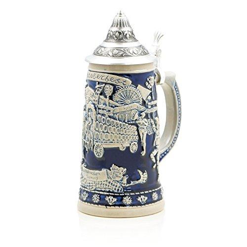 German Beer Stein Oktoberfest  Traditional Bavarian Beer Mug with Ornate Metal Lid  05 liter 1 pt  blue  Made in Germany