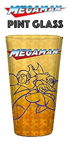 16oz Nintendo OFFICIAL Classic Mega Man PREMIUM Orange Pint Glass GIFT with Mega Man and Zero