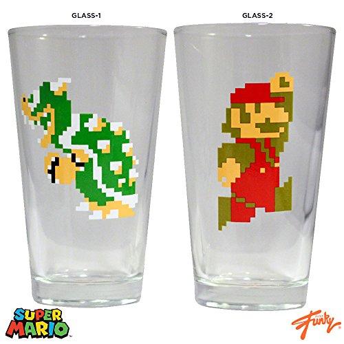 16oz Nintendo OFFICIAL Original 8-Bit Retro Super Mario Bros NES Mario Vs Bowser Classic PREMIUM Pint Glass GIFT