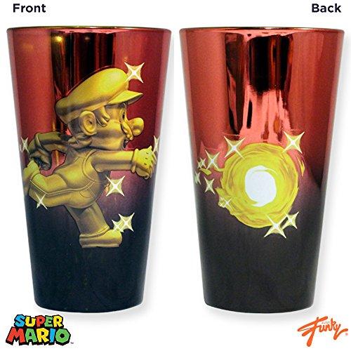 20oz Nintendo OFFICIAL Super Mario Bros Metallic Red and Gold Metal Mario PREMIUM Pint Glass GIFT
