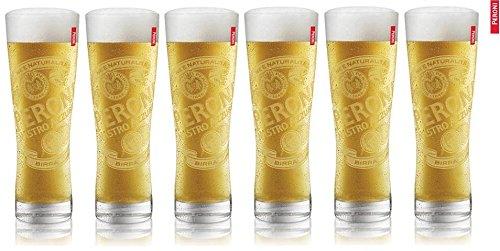 6 Peroni Etched Signature Italian Beer Glasses 03L New