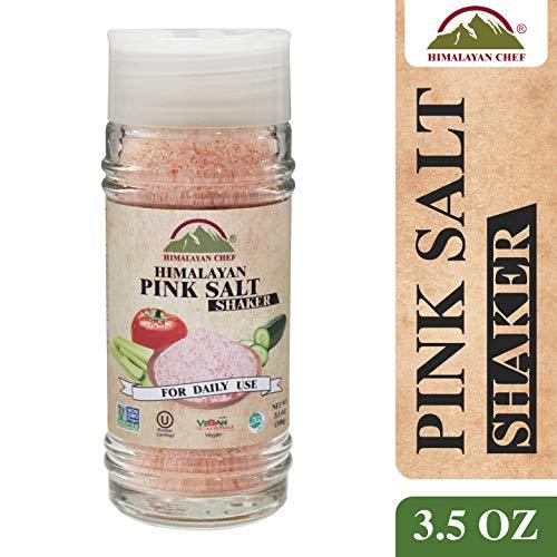Himalayan Chef Pink Fine Salt Glass Shaker and Jar