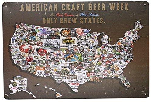 ARTCLUB American Craft Beer Week Beer States Map Vintage Poster Metal Tin Sign Wall Decor