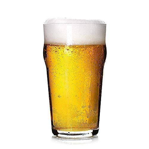 Pint Glasses20 OZ British Beer GlassClassics Craft Beer GlassesPrime Beer Drinking Glasses Tumbler Set of 4 Pub Beer GlassesUnique Design Beer Drinking Glasses Easy Stacking in The Cupboard