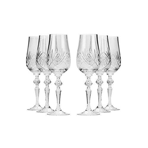 Set of 6 Neman Glassworks 7-Oz Hand Made Vintage Russian Crystal Glasses Champagne Flutes Old-fashioned Glassware