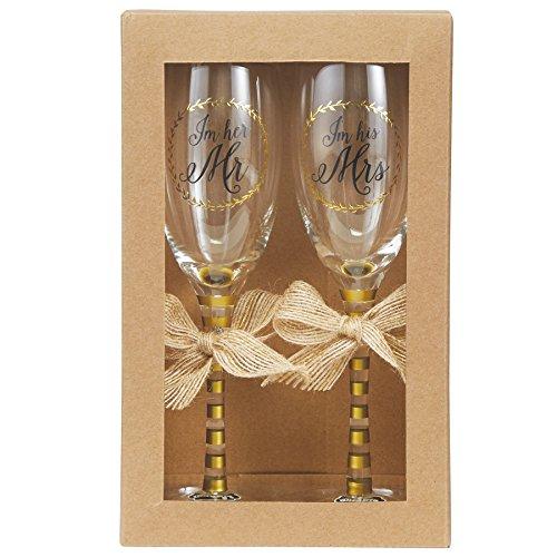 Mud Pie Wedding Champagne Glasses Set Gold