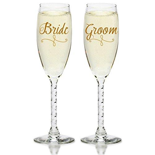 Bride Groom Gold Champagne Flutes - Elegant Wedding Toast Glass Set For Couples
