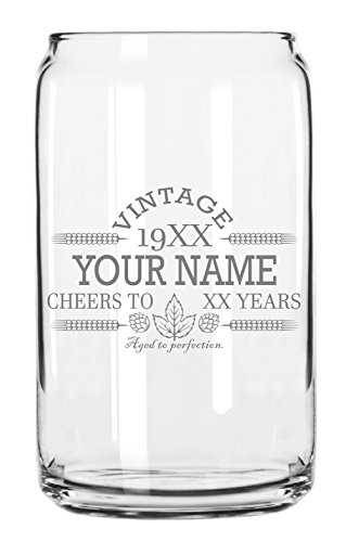 Customized Beer Can Glass-Personalized-Birthday Beer Glass-Engraved-Vintage-Cheers-Aged To Perfection-Birthday Gift-Etched Beer Glass-Barware 1