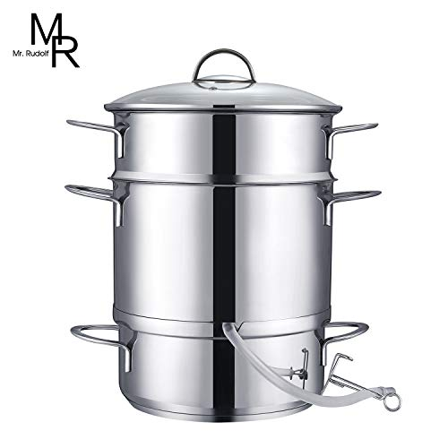 Mr Rudolf 26cm 11-Quart Stainless Steel Fruit Juicer Steamer Multipot Silver
