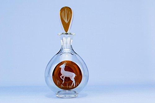 Engraved Deer Amber Glass Decanter Port Sherry Whisky Liqueur Floral Vintage German circa 1950