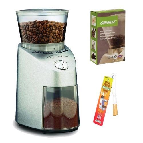 Capresso 565 Infinity Stainless Steel Conical Burr Grinder + Coffee Grinder Dusting Brush + 3-pack 35G Grindz...