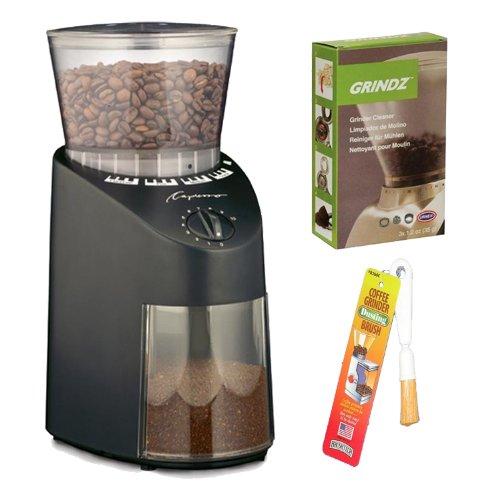 Capresso Jura Infinity 560 Conical Burr Coffee Grinder - Black + Coffee Grinder Dusting Brush + 3-pack 35G Grindz...