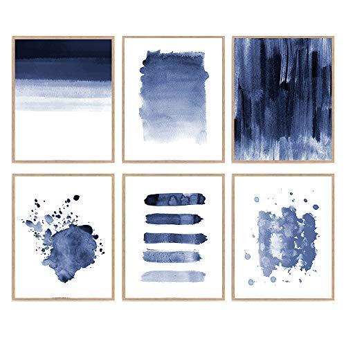 Set of 6 Blue Watercolor Abstract Print Scandinavian Art Poster Minimalist Pastel Modern Geometric Home Décor 8x10 Unframed