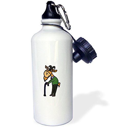 3dRose wb_218741_1 Funny Old Goat Original Art Sports Water Bottle 21 oz White
