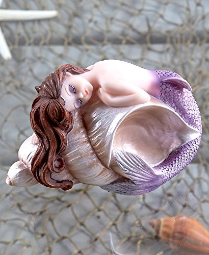 The Lakeside Collection Purple Mermaid Sculpture with Conch Shell - Ceramic Figurine