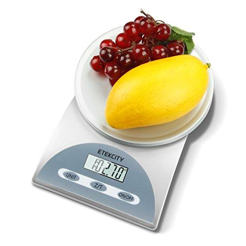 Etekcity 11lb/5kg Digital Kitchen Food Scale, 0.05oz Resolution, Silver/blue