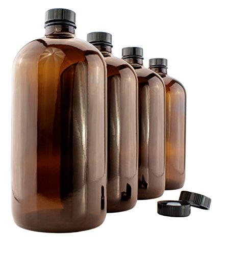 32-Ounce Amber Kombucha Growler Bottles 4-Pack 1 Quart Boston Round Glass Bottles w 6 Phenolic Plastic Lids for Home Brewing