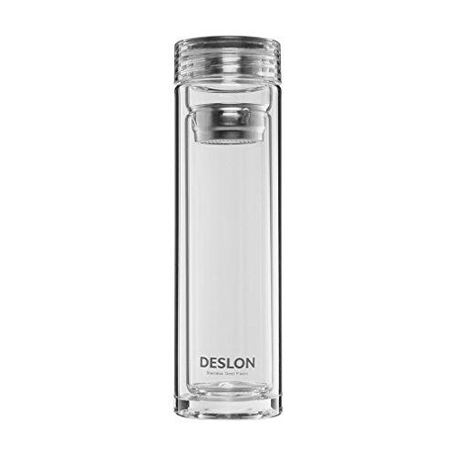 DESLON Borosilicate Double Layer Glass Bottle with Filter Leak Proof Heat Resistant Office Cups 12oz