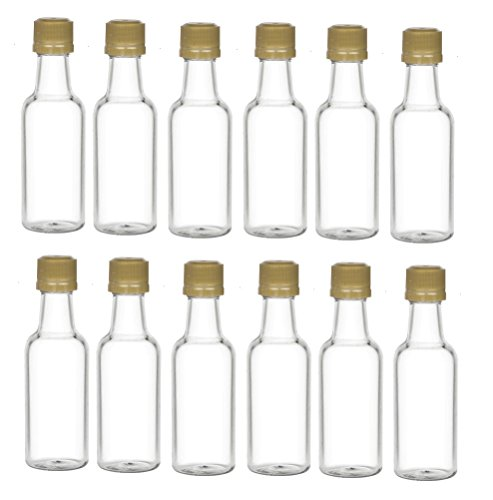 Nakpunar 12 pcs 50 ml Plastic Liquor Bottles with Gold Cap