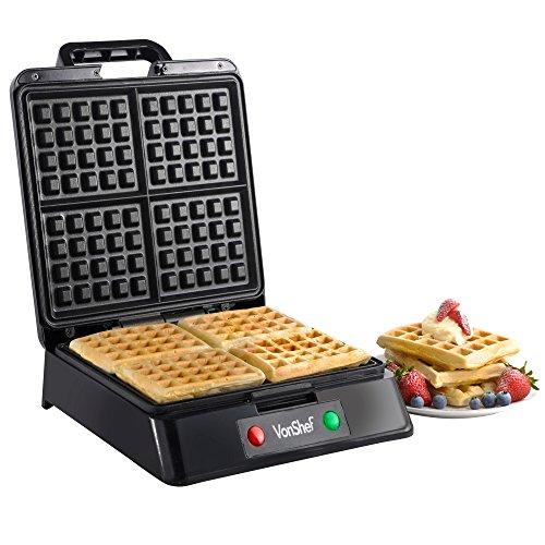 Vonshef Quad Belgian Waffle Maker, 1200 Watt