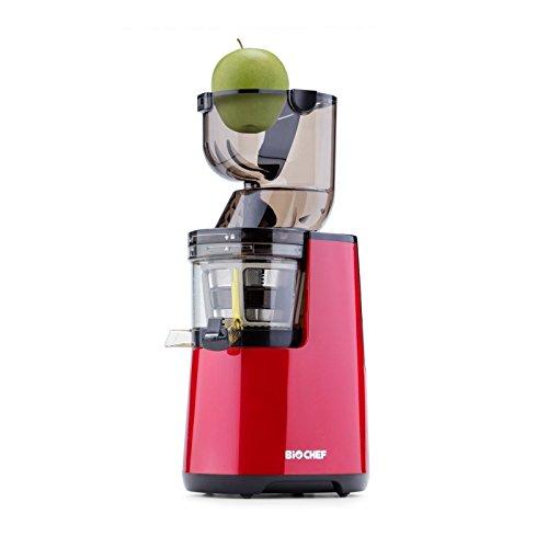 BioChef Atlas Whole Slow Juicer 250W  40 RPM  LIFETIME Warranty Wide Chute Juicer Masticating Juicer Big Mouth Cold Press Juicer Whole Fruit Vegetable Juicer - Retains Nutrients Red