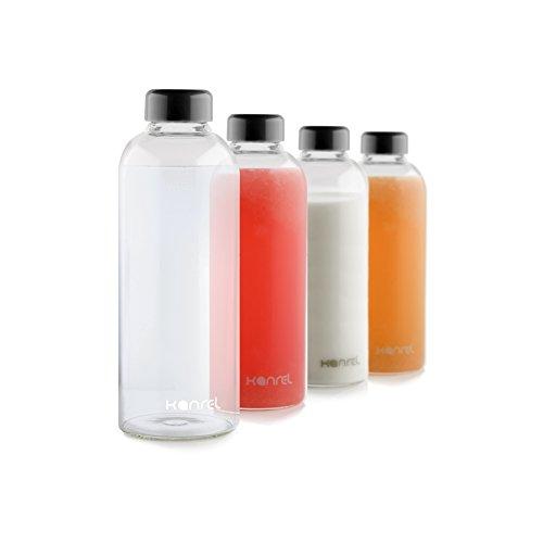 Glass Juice Bottles 32 oz with lids Set of 4 BPA Free Juicing Container for Cold Orange Apple Kombucha Grapefruit Tea Fresh Oraganic Vegetable Juicer Fruit Coconut Kefir Essential Oils