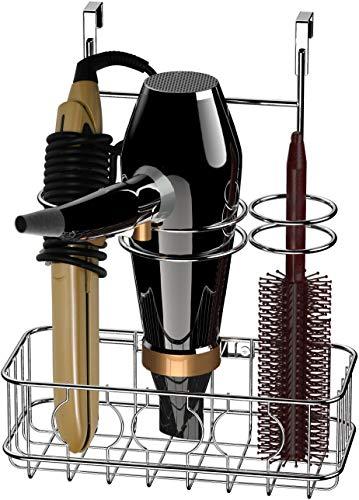 Simple Houseware Cabinet DoorWall Mount Hair Dryer Styling Tools Organizer Storage Chrome