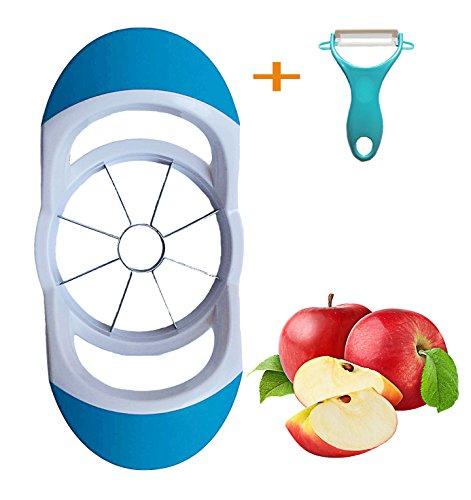 Apple Slicer Corer Set - Fruit Cutter Divider 35 Inch Includes Free Y Peeler 8 Sharp Stainless Steel Blades Comfortable Ergonomic Non-Slip Handles Sturdy Rubber Grips Dishwasher Safe