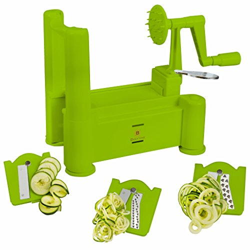Brieftons Tri-Blade Spiralizer Strongest-and-Heaviest Duty Vegetable Spiral Slicer Best Veggie Pasta Spaghetti Maker for Low CarbPaleoGluten-Free Meals With 3 Exclusive Recipe eBooks - Green
