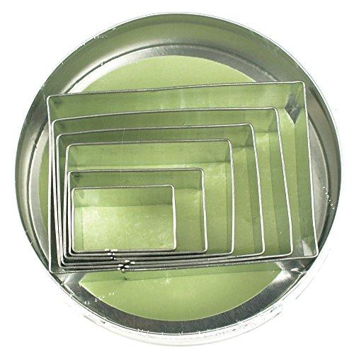 Fox Run 3611 Rectangle Cookie Cutter Set Stainless Steel 6-Piece