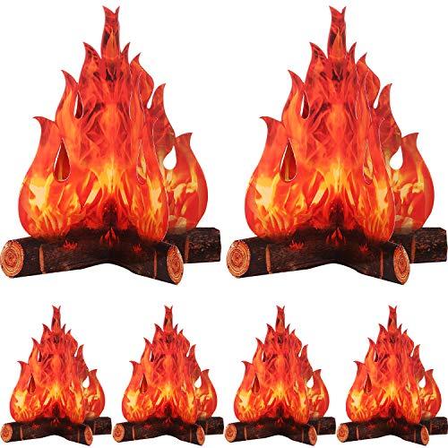 3D Decorative Cardboard Campfire Centerpiece Artificial Fire Fake Flame Paper Party Decorative Flame Torch Red Orange 6 Set