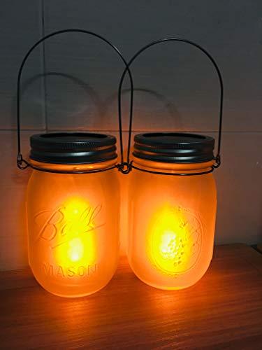 Solar Flame Torch Lanterns Lights2-Pack Flickering Flame Solar Powered Glass Mason Jar Outdoor Hanging Lamps LightingWaterproof Umbrella LED Flame Dancing Lights for Garden Patio Pathway Deck Yard