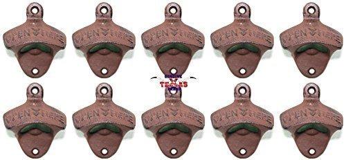 Set of 10 Open Here Cast Iron Wall Mount Bottle Opener Vintage Look Replica