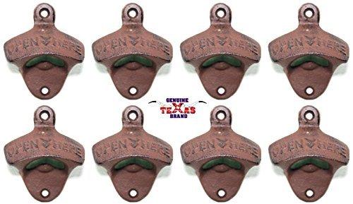Set of 8 Open Here Cast Iron Wall Mount Bottle Opener Vintage Look Replica
