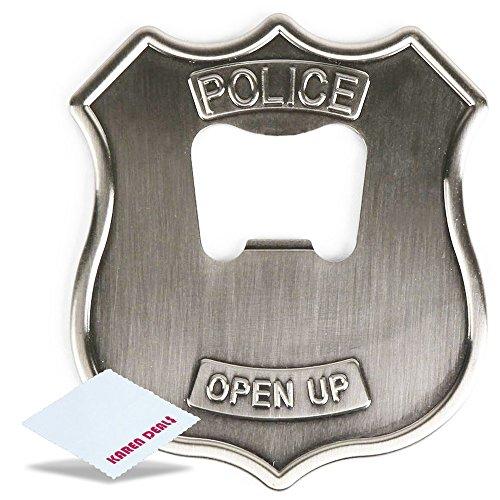 Kikkerland Open UP Police Badge Stainless Steel Bottle Opener  Free KarenDeals Microfiber Cleaning Cloth