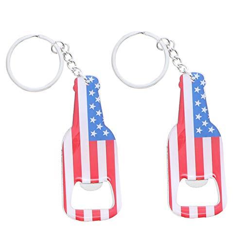 American Flag Beer Bottle Opener Keychain - Set of 2