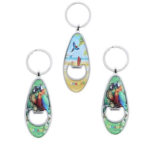 Bahamas Surf Theme Beer Bottle Opener Keychain - Set of 3 - Parrots