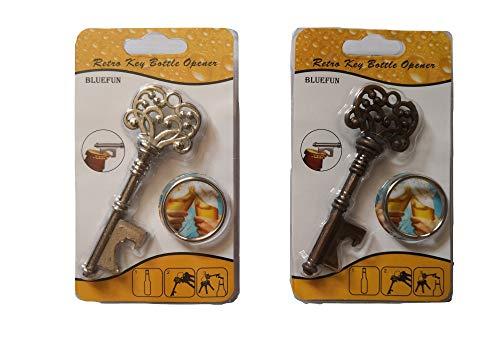 Bluefun Beer Bottle Opener Keychain Skeleton Key 2 of pack Antique Copper&Silver