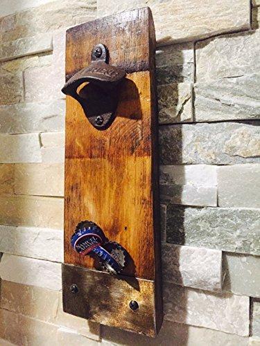 Wine Barrel Handmade Stave Bottle Opener With Magnetic Cap Catcher